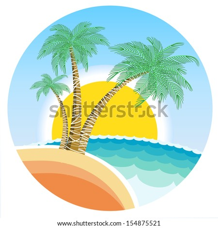Exotic tropical island with palms and sun on round symbol background.Raster