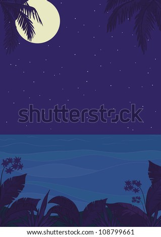 Exotic tropical ocean landscape with moon night sky, palm trees leaves and flowers - stock photo