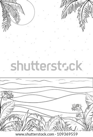 Exotic tropical ocean landscape with moon night sky, palm trees leaves and flowers, black contour on white background - stock photo