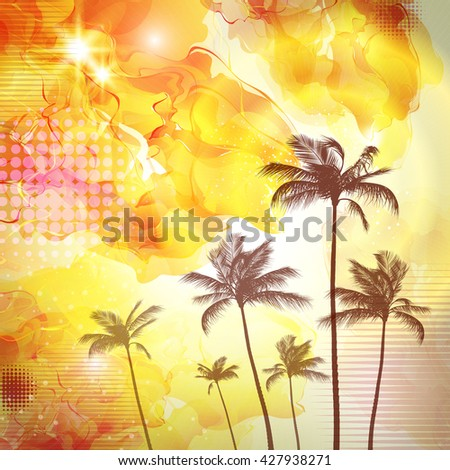 Exotic tropical palm trees  with fantasy sunset background - stock photo