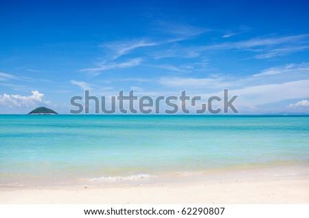 Exotic white sand beach - stock photo