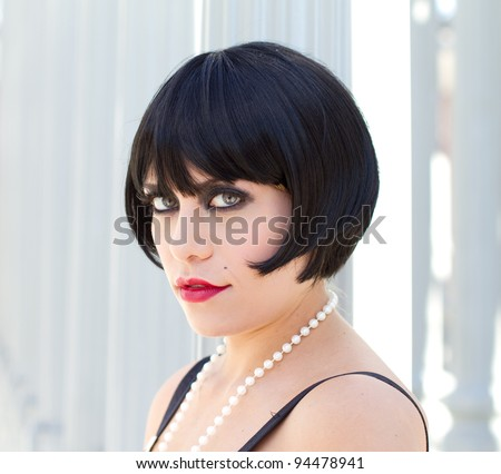 Exotic Woman with a short Black hair cut - stock photo