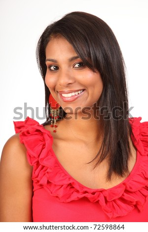 Exotic young girl with radiant smile - stock photo