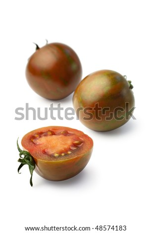 Exotic zebra tomatoes isolated on white background (Clipping path included)