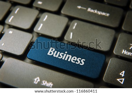 Expand your company with internet: blue key with business word on laptop keyboard. Included clipping path, so you can easily edit it. - stock photo