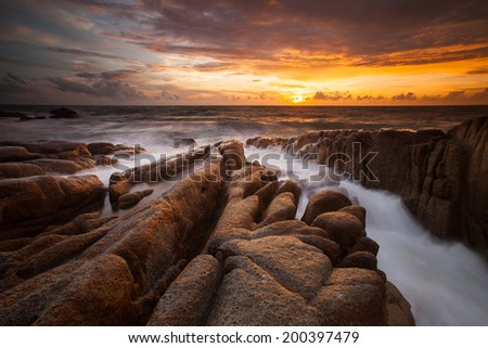 Expanse of the sea against the sunset sky. Beautiful seascape.