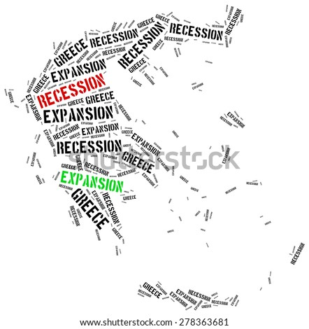 Expansion and recession in Greece. Business cycle concept. - stock photo