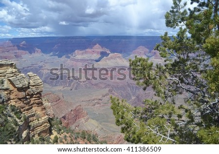 Expansive View of the Grand Canyon During a Thunder Storm - stock photo