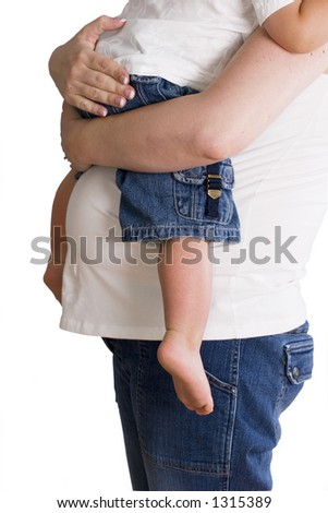 Expecting Mother  holding child isolated on white - stock photo