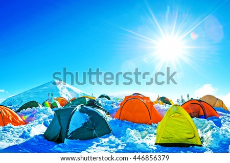 Expedition camping in tent on Mount Everest. Extreme sport - stock photo