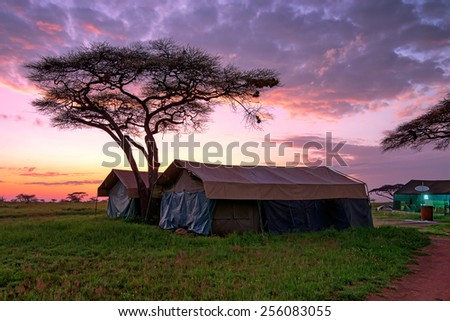 Expedition overnight in tents in savanna camp during safari - stock photo