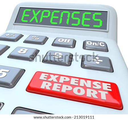 Expense Reports words on a calculator display adding your receipts and costs for business meals, travel and other payments - stock photo