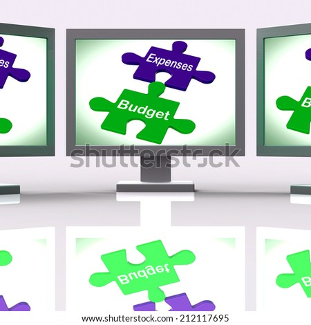Expenses Budget Puzzle Screen Showing Company Bookkeeping And Balance - stock photo