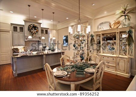 expensive apartment decorated for christmas dinner - stock photo