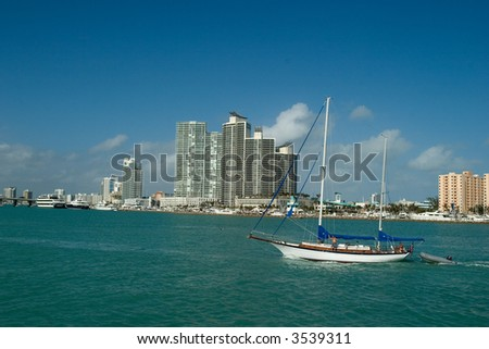 Expensive Apartmets and boat in Miami Florida - stock photo