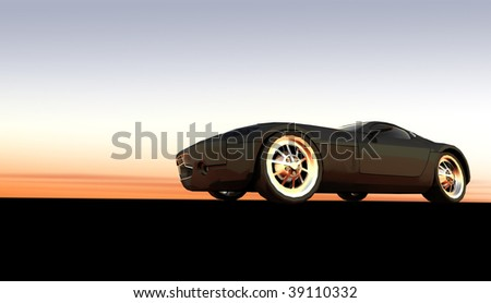 Expensive black luxury sports car / sportscar at sunset / sunrise with copy space - stock photo