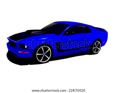 Superbe Expensive Blue Sports Car Isolated On A White Background