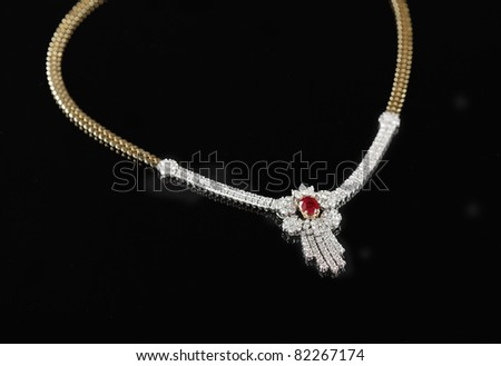 expensive brilliant necklace - stock photo