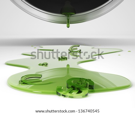 Expensive drops of fuel, over white background - stock photo