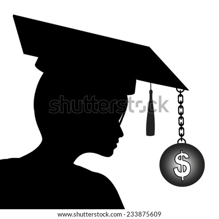 Expensive Education. Student with graduate cap and dollar symbol, which stands for the expenses - stock photo
