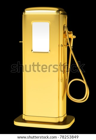 Expensive fuel: golden petrol pump isolated on black. Large resolution - stock photo