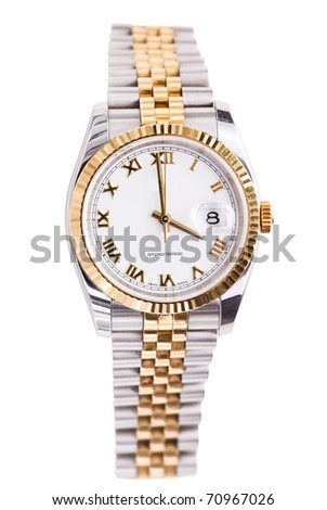 Expensive gold beveled watch with white face and gold hands and numerals against white background