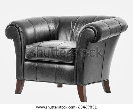 expensive leather arm chair with clipping path - stock photo