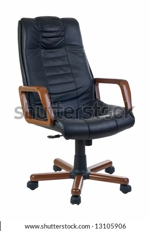 Expensive office armchair of leather and wood for executive or boss isolated on white - stock photo