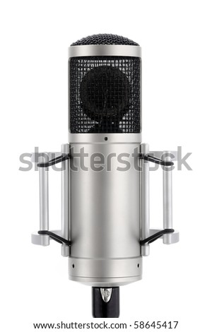 Expensive professional microphone on pure white background - stock photo