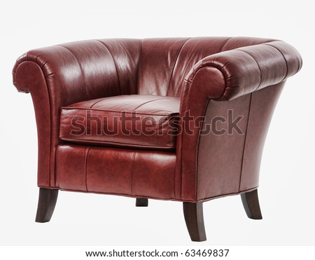 expensive red leather arm chair with clipping path - stock photo