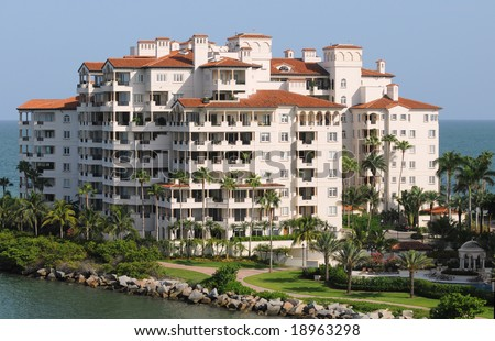 Expensive waterfront condominiums in Florida - stock photo