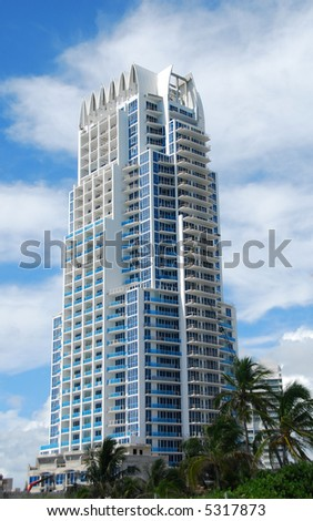 Expensive waterfront highrise in Miami Beach - stock photo