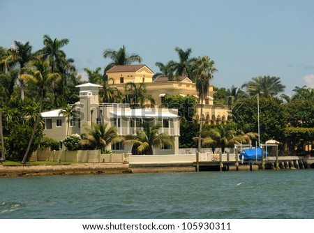 Expensive waterfront real estate in Miami, Florida - stock photo