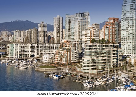 Expensive waterfront real estate in Vancouver, Canada - stock photo