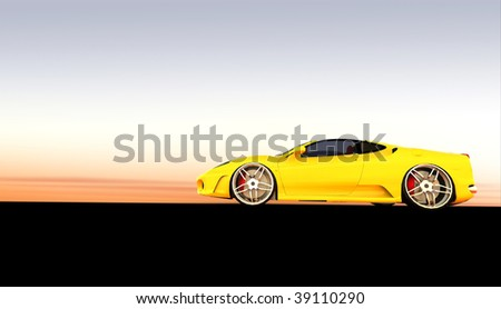 Expensive Yellow luxury sports car / sportscar at sunset / sunrise with copy space - stock photo