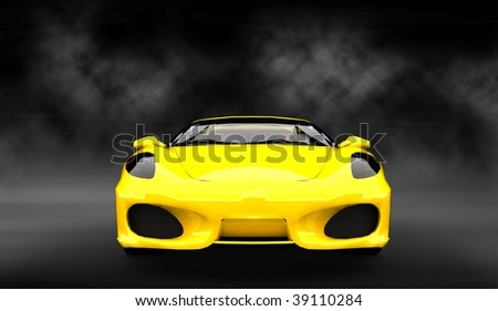 Expensive Yellow luxury sports car / sportscar in smoke filled studio - stock photo
