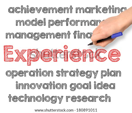 Experience concept handwritten on white background - stock photo