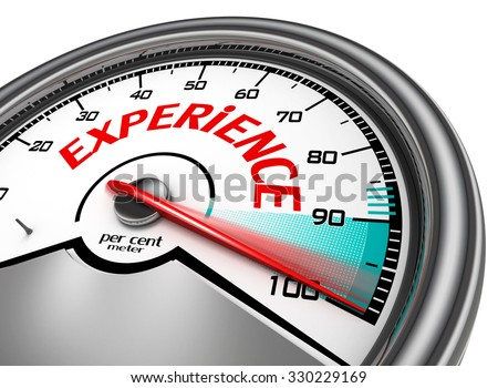Experience conceptual meter indicate hundred per cent, isolated on white background