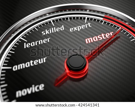 Experience levels speedmeter with needle on master level. 3d render - stock photo