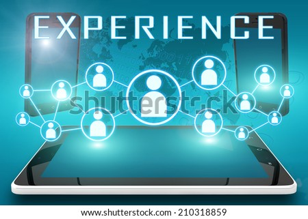 Experience - text illustration with social icons and tablet computer and mobile cellphones on cyan digital world map background - stock photo