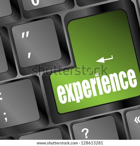 experience word button on keyboard with soft focus, raster - stock photo