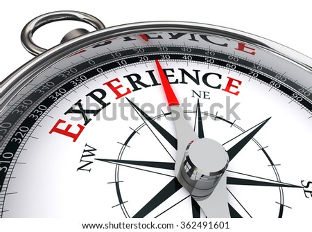 experience word on motivation compass concept, isolated on white background