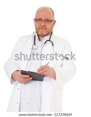 Experienced chief physician. All on white background.