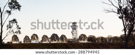 experimental solar electricity generation farm in inglewood rural victoria australia - stock photo