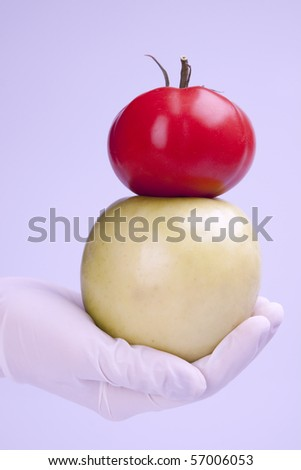 Experiments with fruits in laboratory in blue light - stock photo