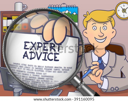Expert Advice. Happy Business Consultant Welcomes in Office and Showing Paper with Offer through Lens. Colored Doodle Style Illustration. - stock photo