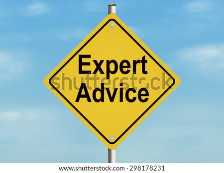 Expert advice. Road sign on the sky background. Raster illustration. - stock photo
