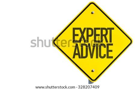Expert Advice sign isolated on white background - stock photo