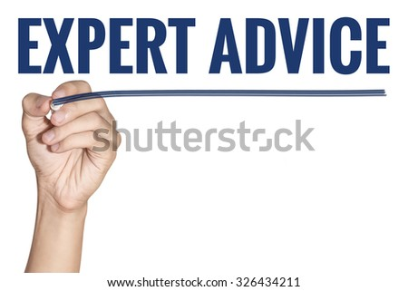 Expert Advice word writting by men hand holding blue highlighter pen with line on white background - stock photo
