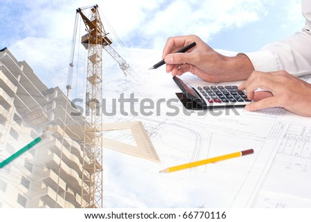 Expert check of the design building documentation - stock photo